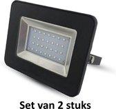 20W LED Bouwlamp| Zwart |6000K (Daglicht)|vervangt 100W halogeen | Set van 2