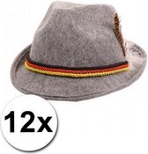 12 Grijze Oktoberfest hoedjes met de Duitse vlag