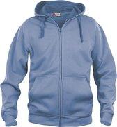 Basic hoody full zip lichtblauw m