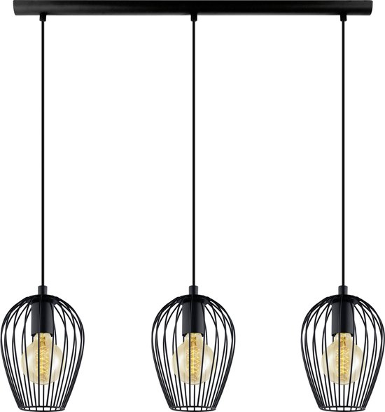 EGLO Vintage Newtown Hanglamp - 3 Lichts - Lengte 700mm. - Zwart