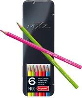 mXz blik 6 kleurpotloden neon fluo