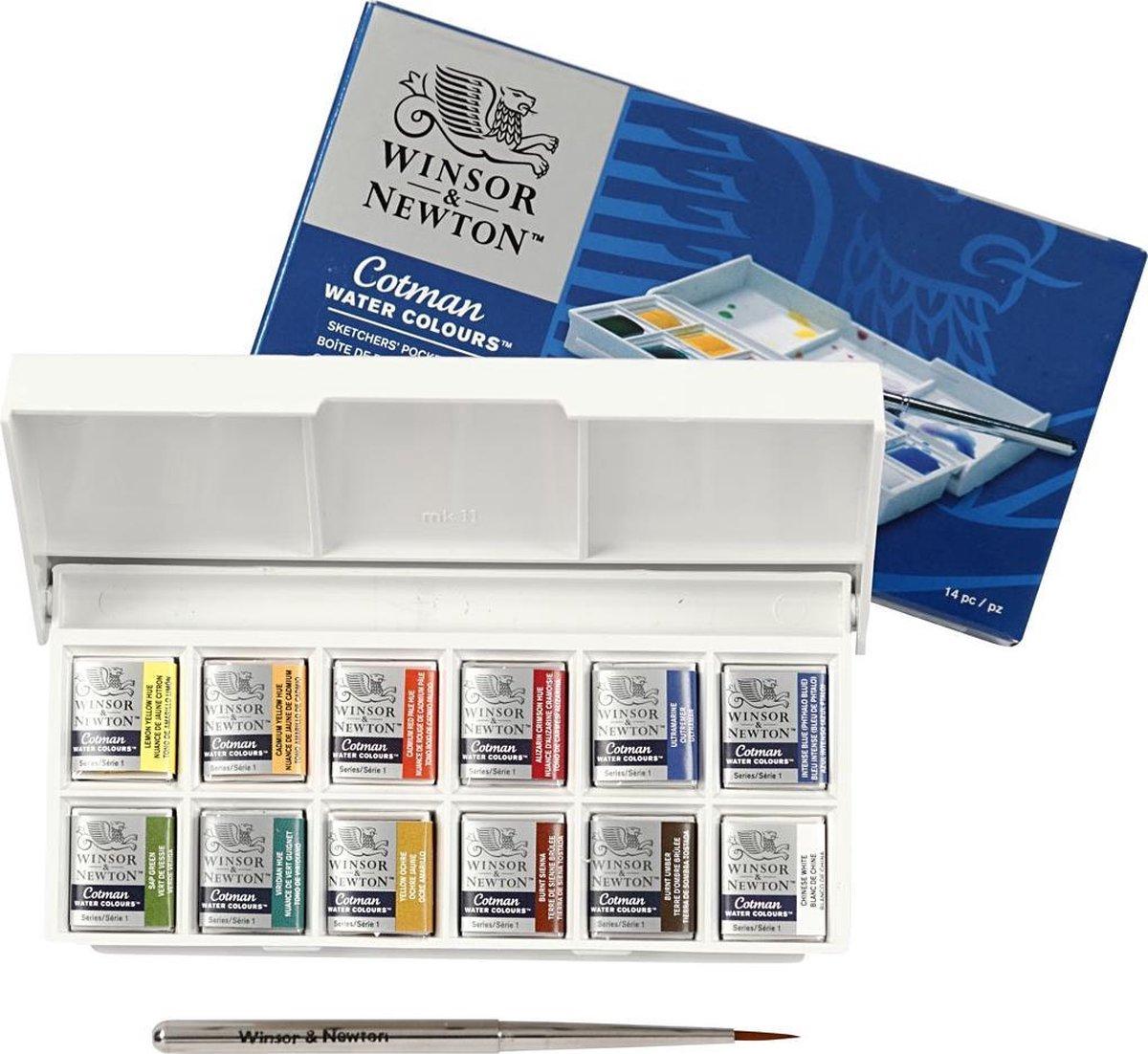 Winsor & Newton Cotman Sketchers Pocket Box Aquarelset 12 halve napjes + penseel