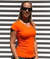 Dames t-shirt  V-hals oranje 38 (M)