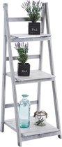 Clp Houten ladderrek YANA trappenrek, plantenrek, boekenrek met 3 legplanken, decoratief, samen klapbaar - antiek-wit