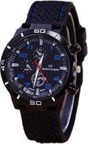 GT sportief - Tiener Horloge - Siliconen – Zwart/Blauw - Ø 44 mm