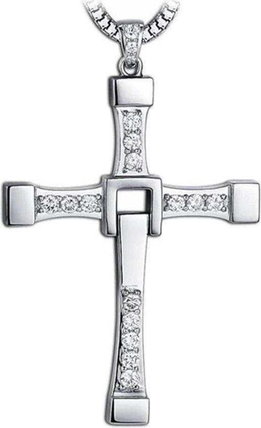 Fako Bijoux® - Ketting - Kruis - Kristal - Deluxe - Zilverkleurig