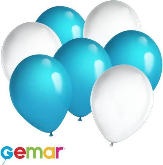 30x Ballonnen Lichtblauw en Wit (Ook geschikt voor Helium)
