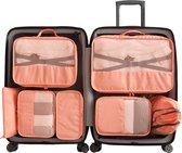 Luxe Packing Cubes set - Uitgebreide 7 delige set - Kleding organizer voor koffer en backpack - Bagage Organizers voor Kleding - Ondergoed - Schoenen -  Elektronica - Waszak - Roze