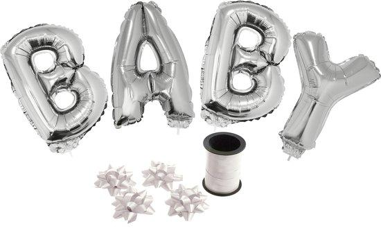 Folie ballonset zilver met letters BABY 41 cm + geschenklint 10m met 4 witte strikken