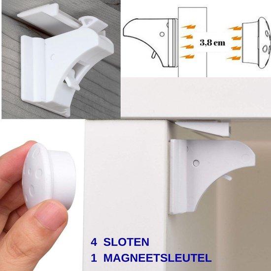 Gohh® 4 Magneetsloten (met 3M tape) en 1 Sterke Magneetsleutel - Geen schroeven nodig