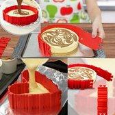 Magic Snake Cake Vorm | Flexibele Siliconen Bakvorm Multifunctioneel | Bak Vorm in verschillende Stylen | Cake Vorm 4 stuks Flexibele Siliconen vormen | Kleur Rood