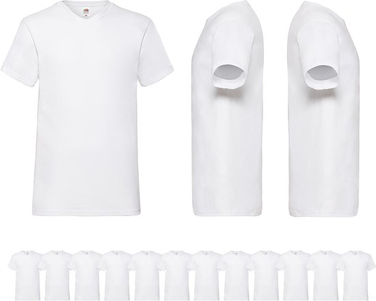12 pack witte shirts Fruit of the Loom V hals maat L