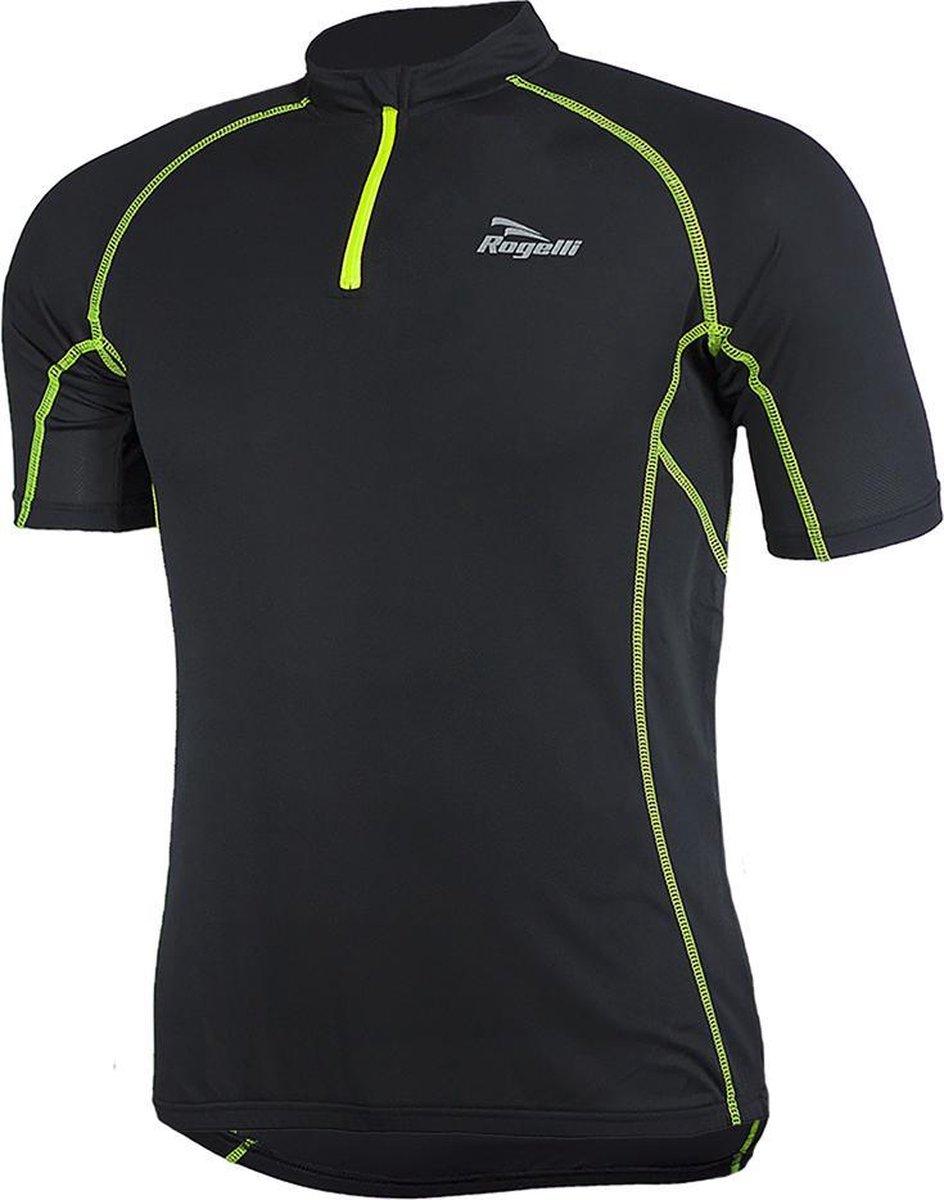 Rogelli Perugia Jersey SS Fietsshirt - Heren - Maat XXXL - Zwart/Geel - Rogelli