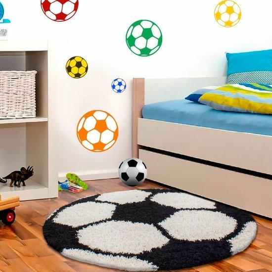 Voetbal Rond Kindervloerkleed Zwart-Wit120 X 120 CM