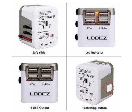 Loocz universele wereldstekker reisdapter reisstekker omvormer met 4 USB voor alle landen 2 PACK - Loocz