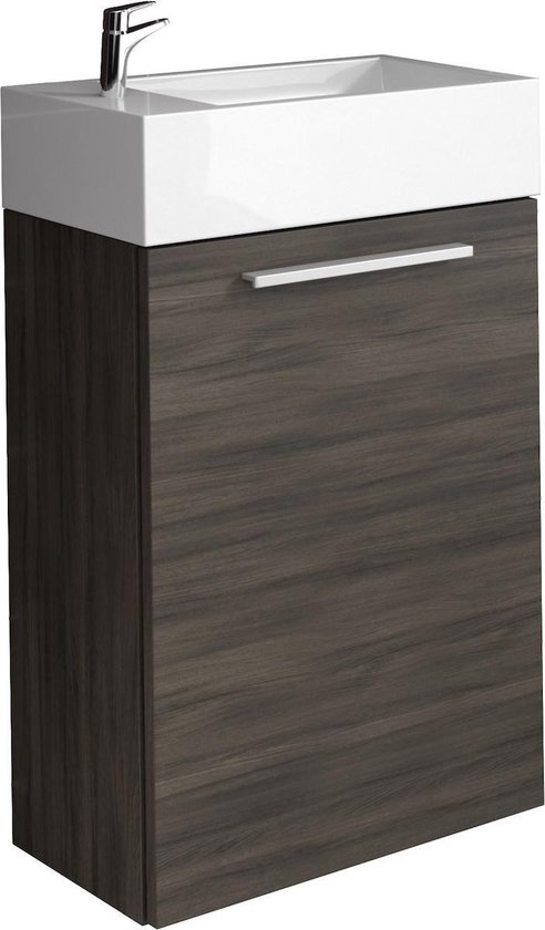 Badplaats Toiletmeubel Athene 40cm Fonteinmeubel rechtsdraaiend - Donker eiken