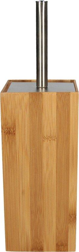 Premium Bamboe Toiletborstelhouder met RVS Toiletborstel - 38x17cm | Design Staande Houten Toiletborstelhouder met WC Borstel | Toiletborstel in Vierkante Houder