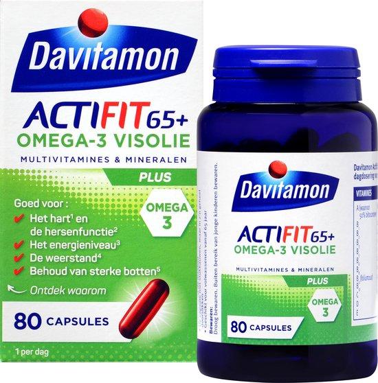 Davitamon Actifit 65+ Omega-3 Visolie - Multivitamine voor 60 plussers - 80 stuks - Voedingssupplement