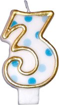 Haza Original Verjaardagskaars Cijfer 3 Goud/blauw 6 Cm