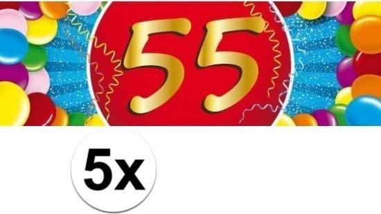 Fonkelnieuw bol.com | 5x 55 Jaar leeftijd stickers 19 x 6 cm - 55 jaar QJ-79