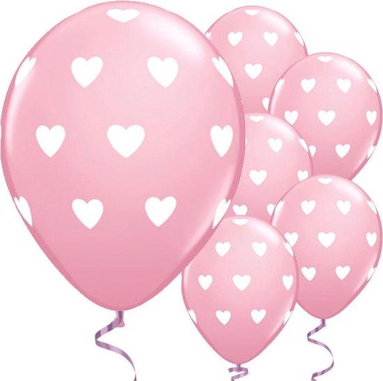 Ballonnen Hartjes Roze - 6 stuks