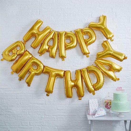 Folieballon 'Happy Birthday' Los - Goud