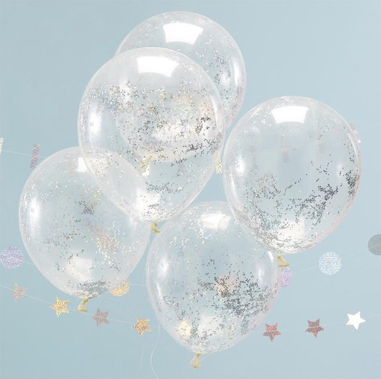 Confetti Ballonnen Holografisch Glitter - 5 stuks