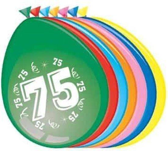 Ballonnen 75 jaar - 30cm - 8st