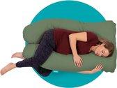 Mjuka Zwangerschapskussen | Comfort kussen | XXL 280 cm | Soft Cotton | Green| Incl. luxe opbergtas