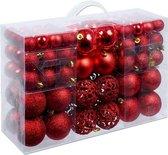 Christmas Gifts Kerstballen Set - 100 Kerstballen - Plastic/Kunststof  - 3/4/6 cm - Rood