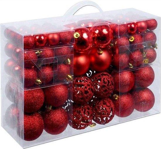 Christmas Gifts kerstballenset - 100 stuks - 3/4/6cm - Rood