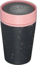 rCUP herbruikbare to go beker van gerecyclede koffiebekers zwart/roze 8oz/227ml