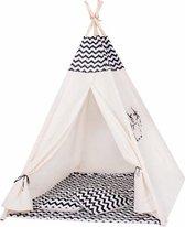 Wigwam tipi teepee tent - speeltent - 4 delig - 100% katoen - zebra patroon