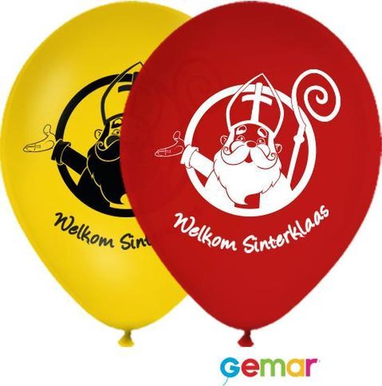"""Ballonnen """"Welkom Sinterklaas"""" Geel en Rood (Helium)"""