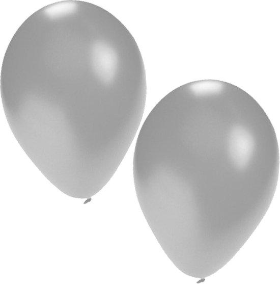 25x Zilveren ballonnen - 27 cm - ballon zilver voor helium of lucht