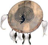 Sjamaan trommel van Terré, 40 cm, opdruk, natuur