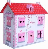 Playwood Poppenhuis Inclusief Meubels wit-rood