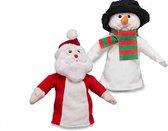 Handpoppen van Kerstman en Sneeuwpop