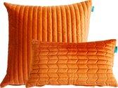 Sierkussen Fluweel Streep Oranje 50x50 cm & 30x50 set van 2