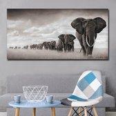 Canvas Schilderij * Kudde Olifanten in de Savanne * - Kunst aan je Muur - Zwart en Goud - 60 x 120 cm