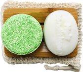 Voordeelpakket XL | Shampoo Bar + Conditioner Bar | Bamboe Zeepbakje | Gratis Zeepzakje | Duurzaam | Stichting Trees For All | 140ml