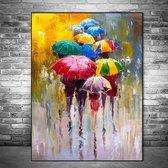 Canvas Schilderij * Paraplu's in de Regen Abstract * - Kunst aan je Muur - Abstract Realistisch - VeelKleurig - 50 x 70 cm