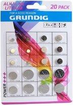 1 blister assortiment met 20 GRUNDIG Batterijen AG1/LR621 AG5/LR754 AG8/LR1120 AG12/LR43 AG3/LR41 AG4/LR626 AG10/LR1130 AG13/LR44 CR1620 CR2016 CR2025 CR2032