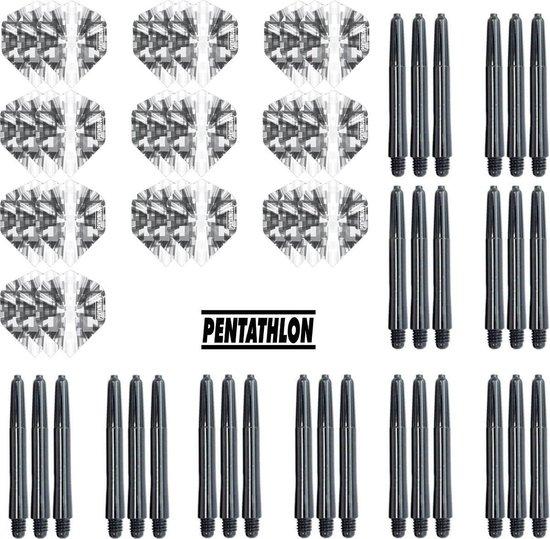 Dragon Darts - 10 sets (30 stuks) Pentathlon Explosion darts flights - super stevig - zwart - incl. 10 sets (30 stuks) - medium - darts shafts - zwart