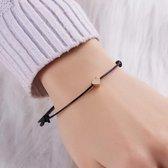 Make a Wish -Armband met Hart - Liefde's Armband - Zwart bandje