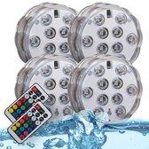 B.K.Licht Eris waterdichte RGB LED lamp - op batterijen - met afstandsbediening - IP65 - setje van 4