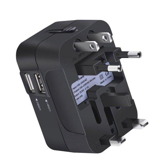 Universele Wereldstekker met 2 USB Poorten Gymston - Universele reisstekker voor internationale reizen/ reisadapter voor 150+ landen - Engeland (UK) - Amerika (USA) - Australië - Azië - Zuid Amerika - Reis Adapter / Reisstekker / oplader - Zwart