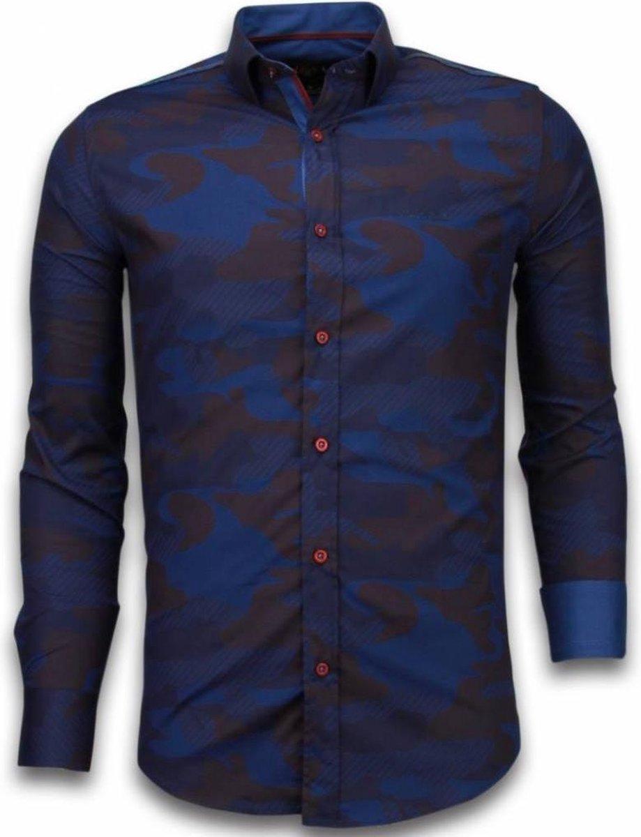 TONY BACKER Italiaanse Overhemden - Slim Fit Overhemd - Blouse Army Lined Pattern - Bordeaux - Maten: XL