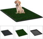 vidaXL Huisdierentoilet met bak en kunstgras 76x51x3 cm groen