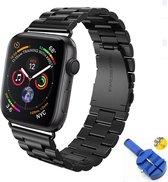 Metalen Armband Voor Apple Watch Series 1/2/3/4/5 42 MM /44 MM Horloge Band Strap - iWatch Schakel Polsband RVS - Inclusief Inkortset - Zwart